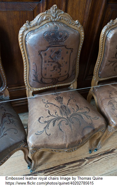 Embossed leather royal chairs