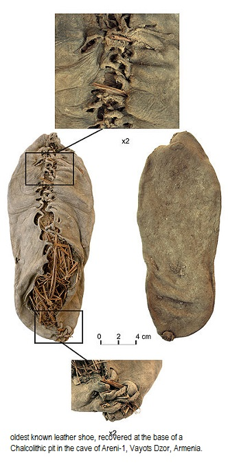 Leather shoes of Chalcolithic Areni 1 cave