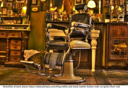 white-and-black-leather-barber-chair-on-green-floor-mat