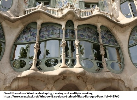 Window Barcelona Stained Glass Baroque Fanciful