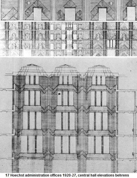 17 Behrens Peter Hoechst administration offices 1920-27, central hall elevations