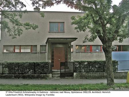 17 Villa Friedrich Schmelowsky in Gablonz Jablonec nad Nisou, Architect Heinrich Lauterbach 1933 Wikipedia Image by FrantAla