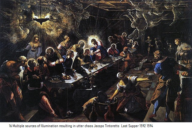 16 Multiple sources of Illumination resulting in utter chaos Jacopo Tintoretto Last Supper 1592 1594
