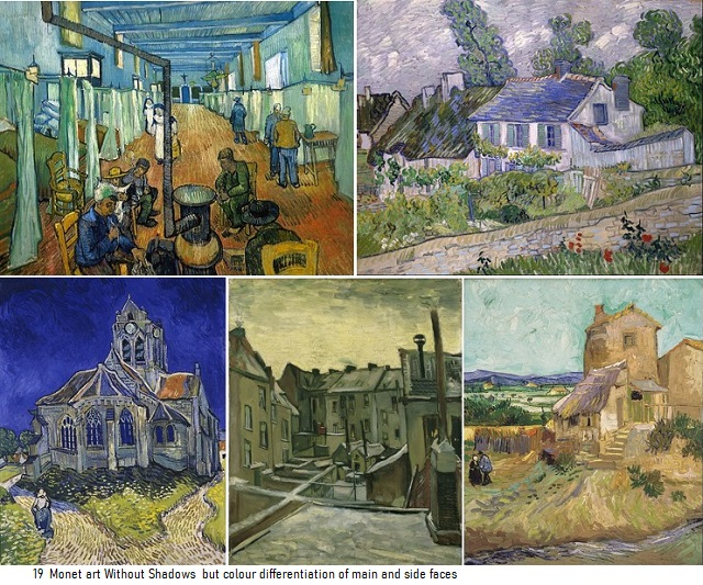 19 Monet art Without Shadows but colour differentiation between main and side faces